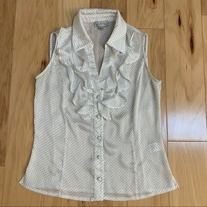 Tahari ASL White polka Dot Button Down Top